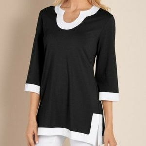 Soft Surroundings Black White Trim Posh Tunic Top